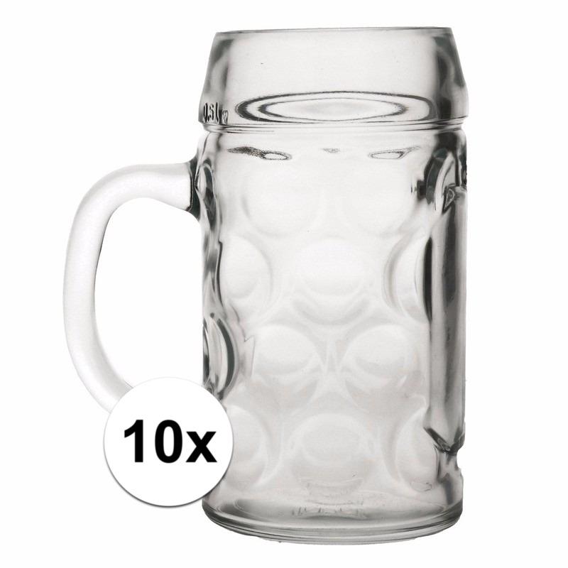 Oktoberfest - 10x voordelige bierpullen/bierglazen 1 liter