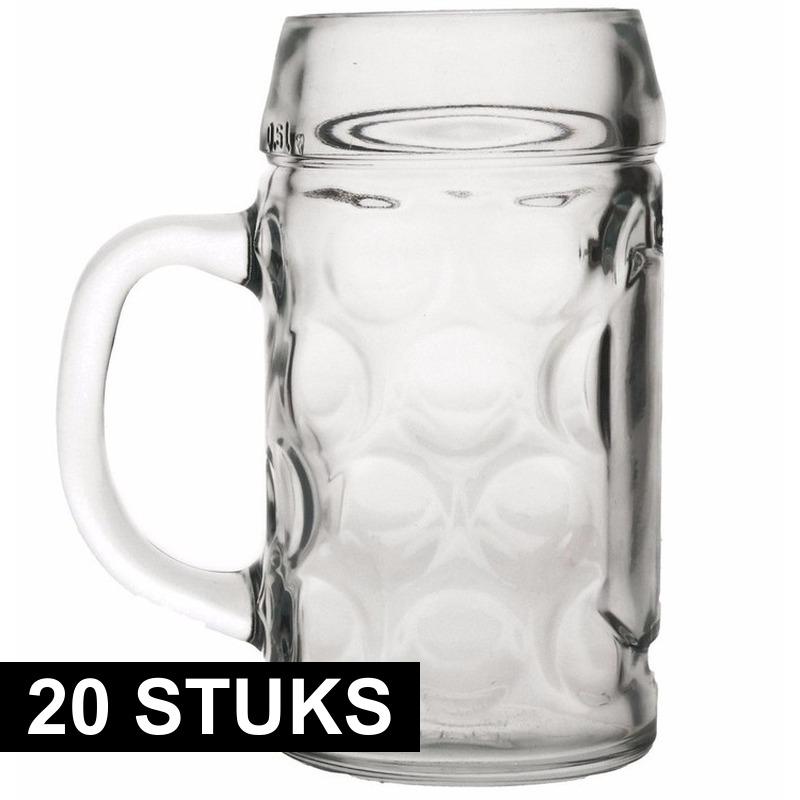 Oktoberfest - 20x Bierpullen/Bierglazen 1 liter Oktoberfest glazen