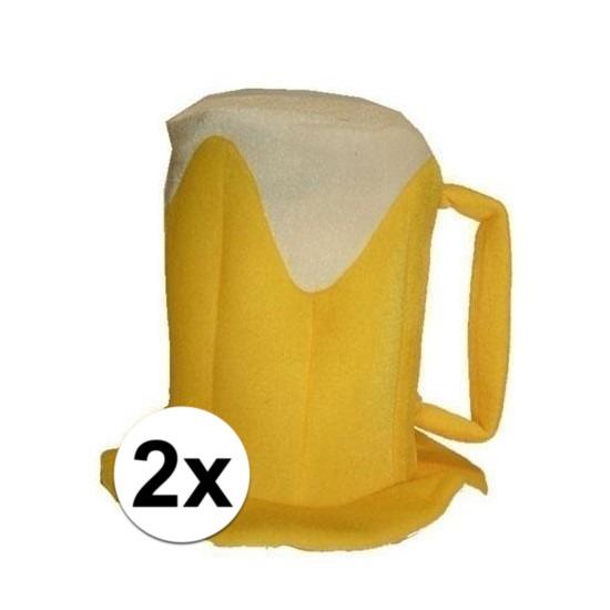 Oktoberfest - 2x Bierpul verkleed hoeden met schuimkraag