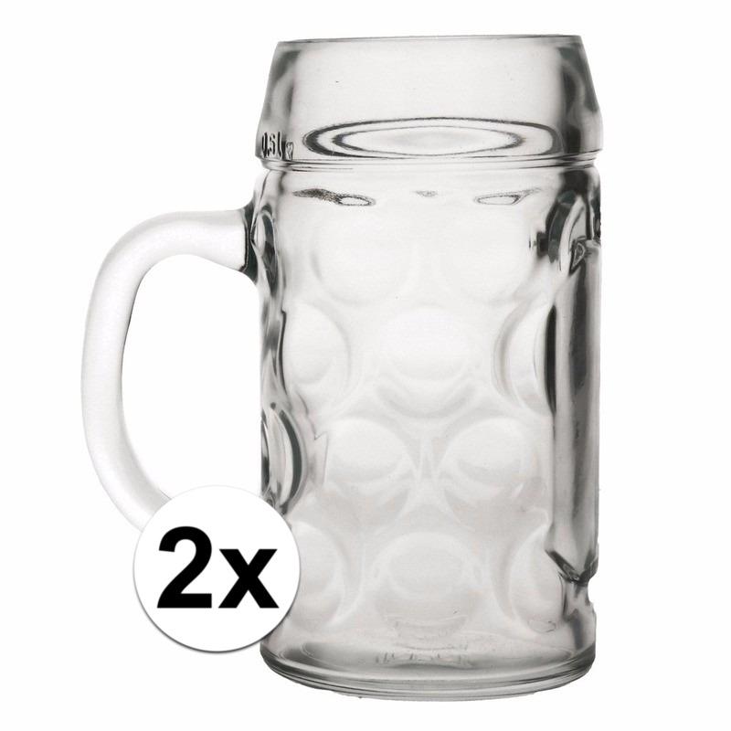 Oktoberfest - 2x voordelige bierpullen/bierglazen 1 liter