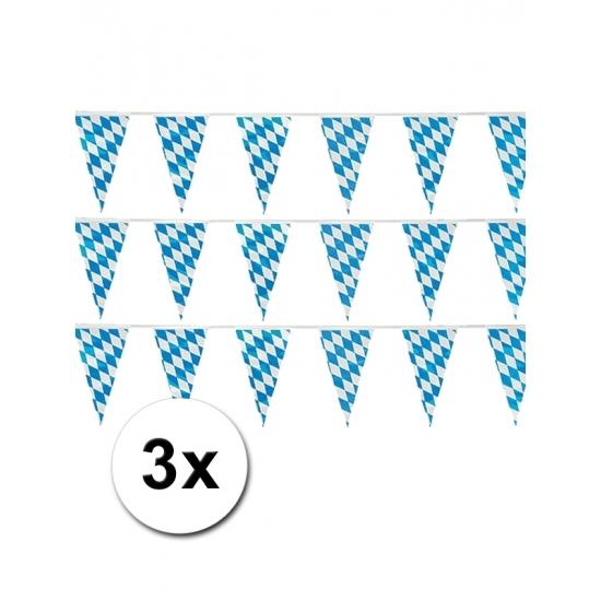Oktoberfest - 3 plastic Beieren vlaggenlijnen 10 meter