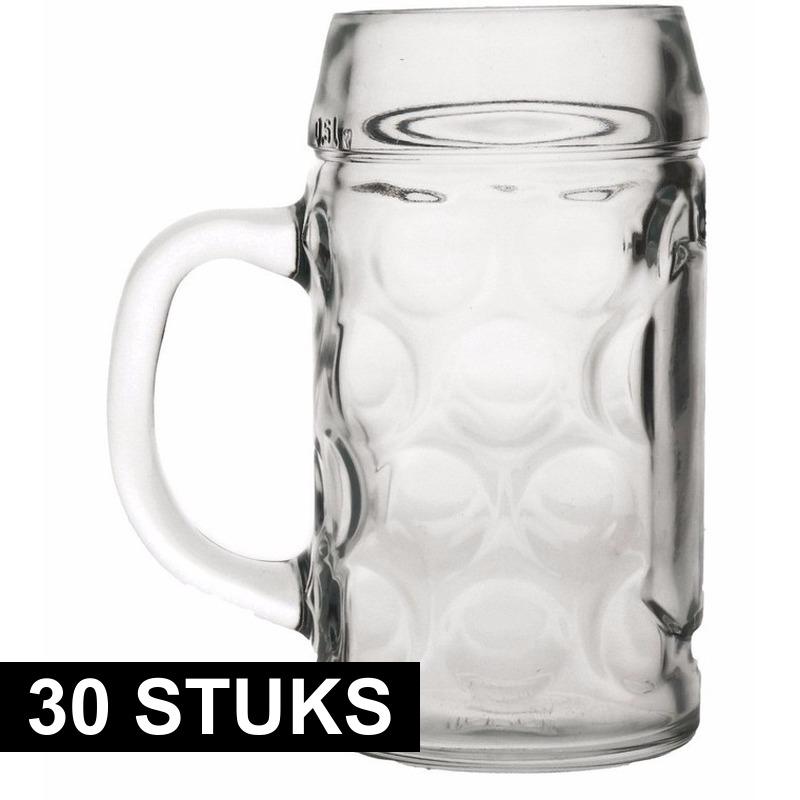 Oktoberfest - 30x Bierpullen/Bierglazen 1 liter Oktoberfest glazen
