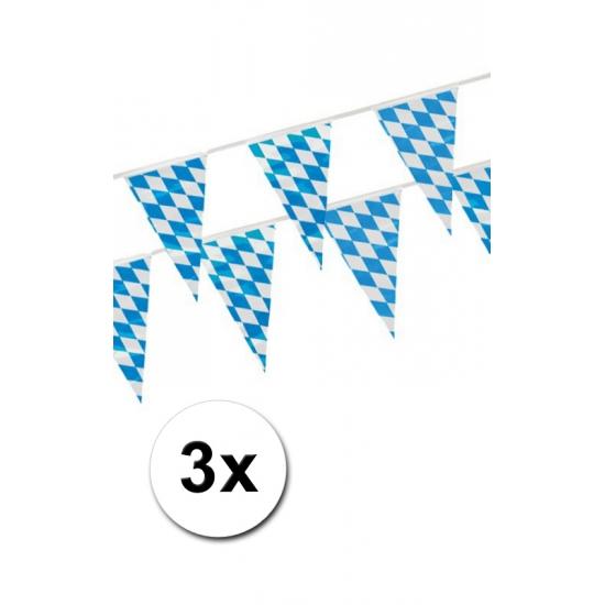 Oktoberfest - 3x Beieren vlaggenlijn blauw/wit 4 m