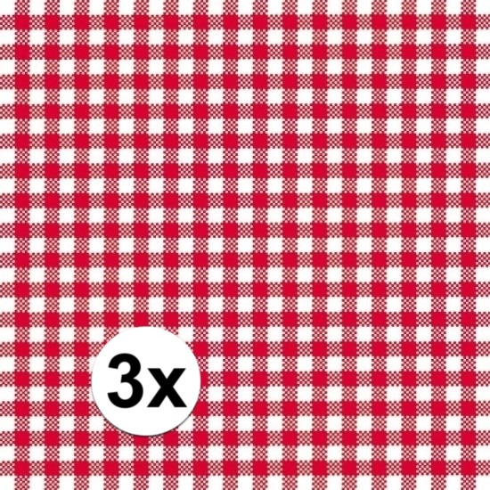 Oktoberfest - 3x pakjes Oktoberfest Servetten geruit rood/wit 3-laags 20 stuks