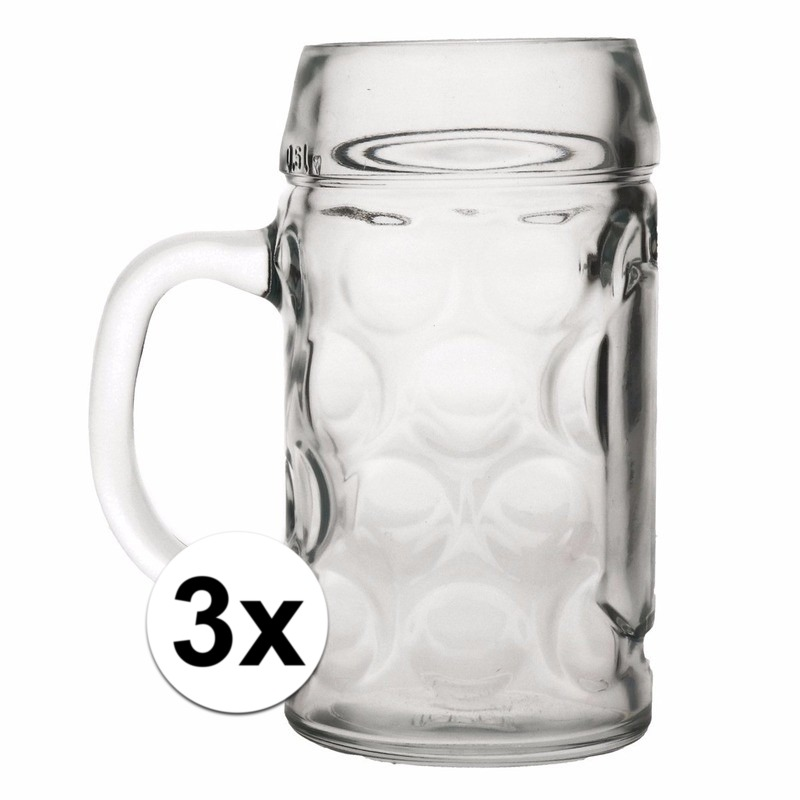 Oktoberfest - 3x voordelige bierpullen/bierglazen 1 liter