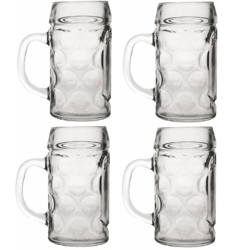 Oktoberfest - 4x Bierpullen/Bierglazen 1 liter Oktoberfest glazen