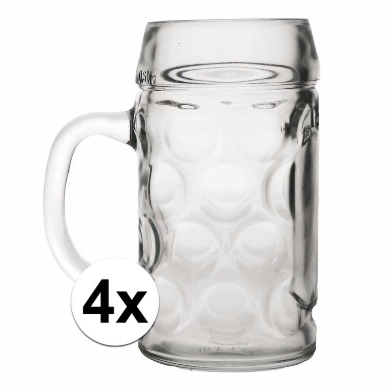 Oktoberfest - 4x voordelige bierpullen/bierglazen 1 liter
