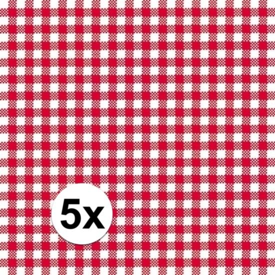 Oktoberfest - 5x pakjes Oktoberfest Servetten geruit rood/wit 3-laags 20 stuks