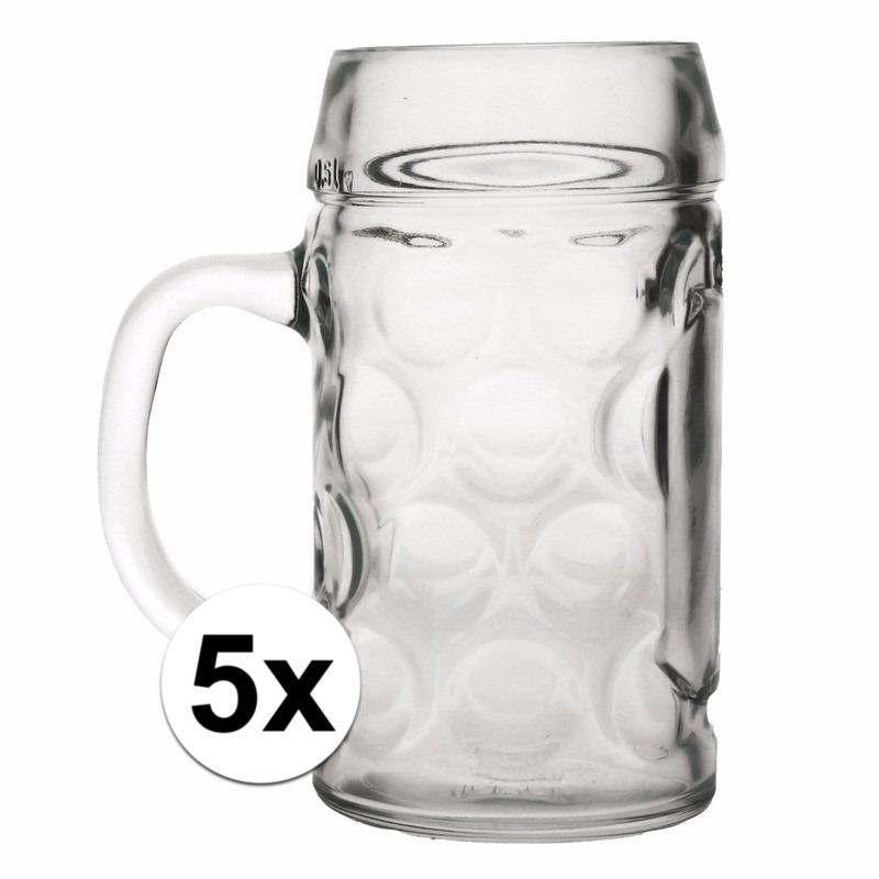 Oktoberfest - 5x voordelige bierpullen/bierglazen 1 liter