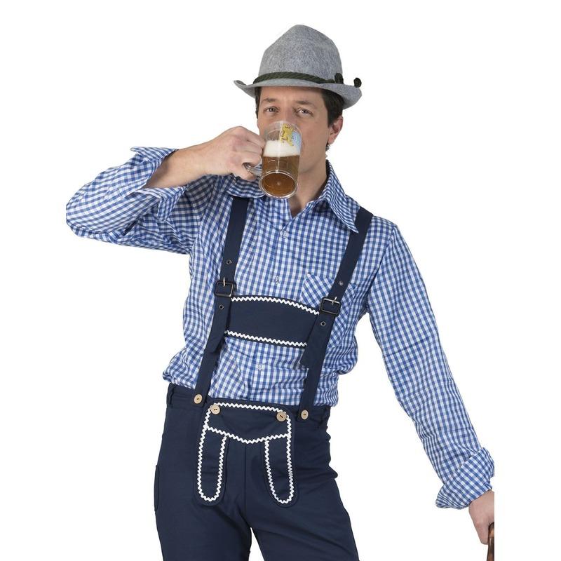 Oktoberfest - Blauw/wit geruit tiroler verkleed overhemd voor heren