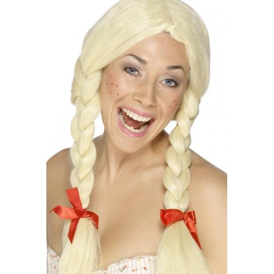 Oktoberfest - Blonde vlechten pruik verkleedaccessoire voor dames