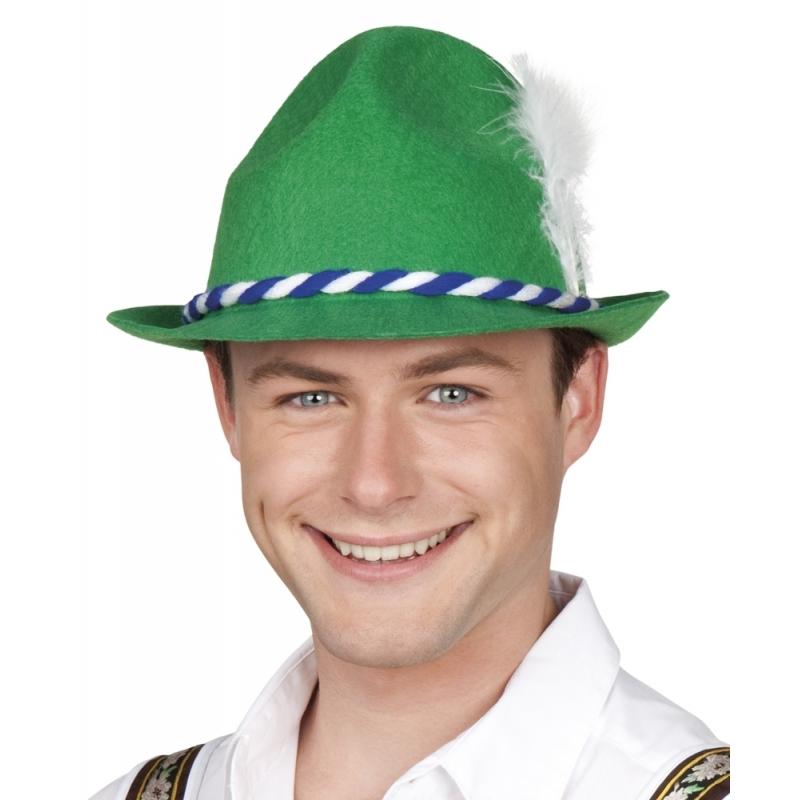 Oktoberfest - Groen/wit Tiroler hoedje verkleedaccessoire voor volwassenen