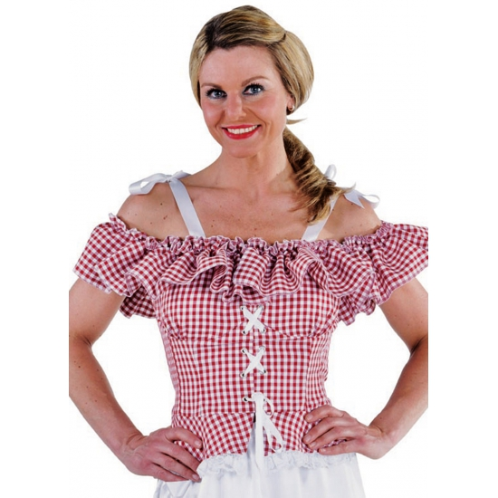 Oktoberfest - Tiroler blouse Carmen rood geruit