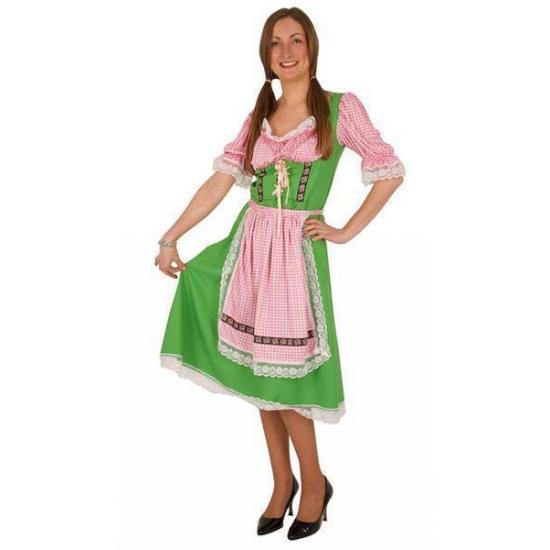 Oktoberfest - Tiroler jurk groen met roze