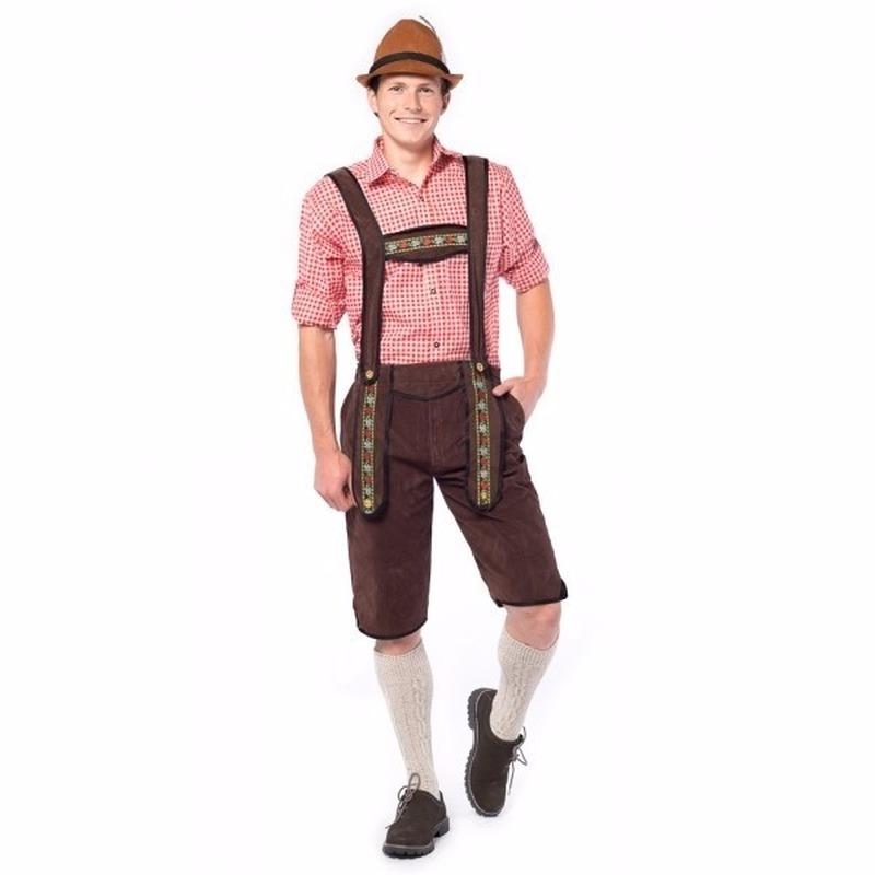 Oktoberfest - Voordelige donkerbruine lange lederhose voor heren