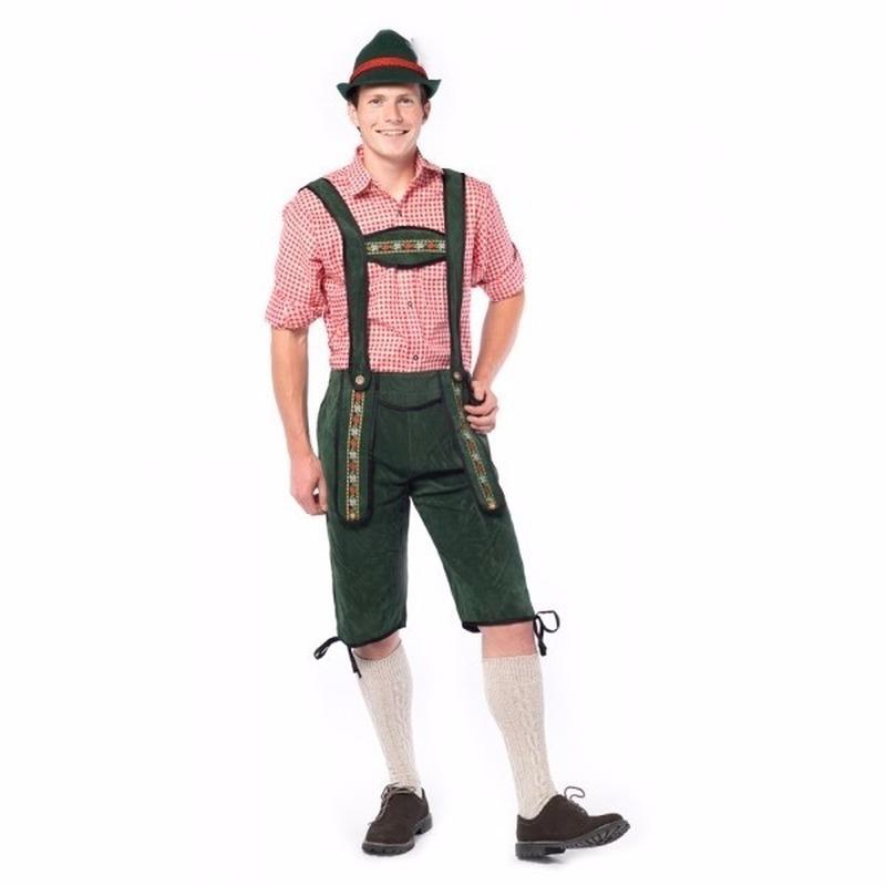 Oktoberfest - Voordelige groene lange lederhose voor heren