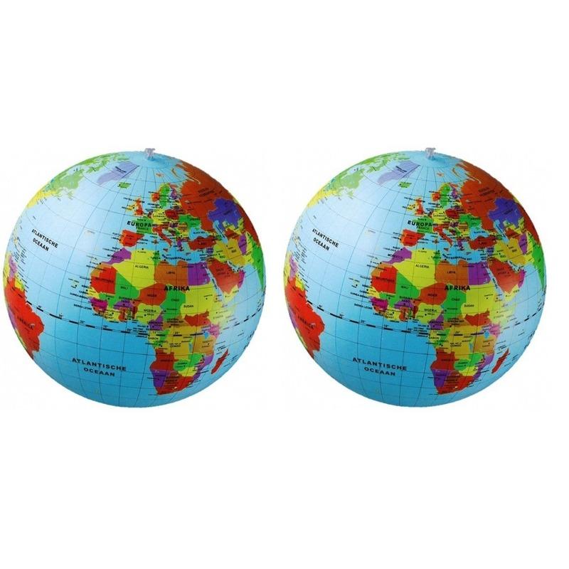 Opblaasbare strandbal wereldbol/aarde 50 cm