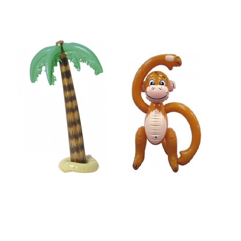 Opblaasbare tropische set palmboom met aap