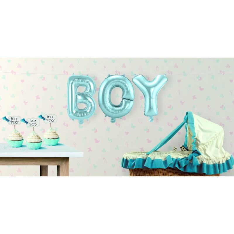 Opblaasletters BOY geboorte ballonnen