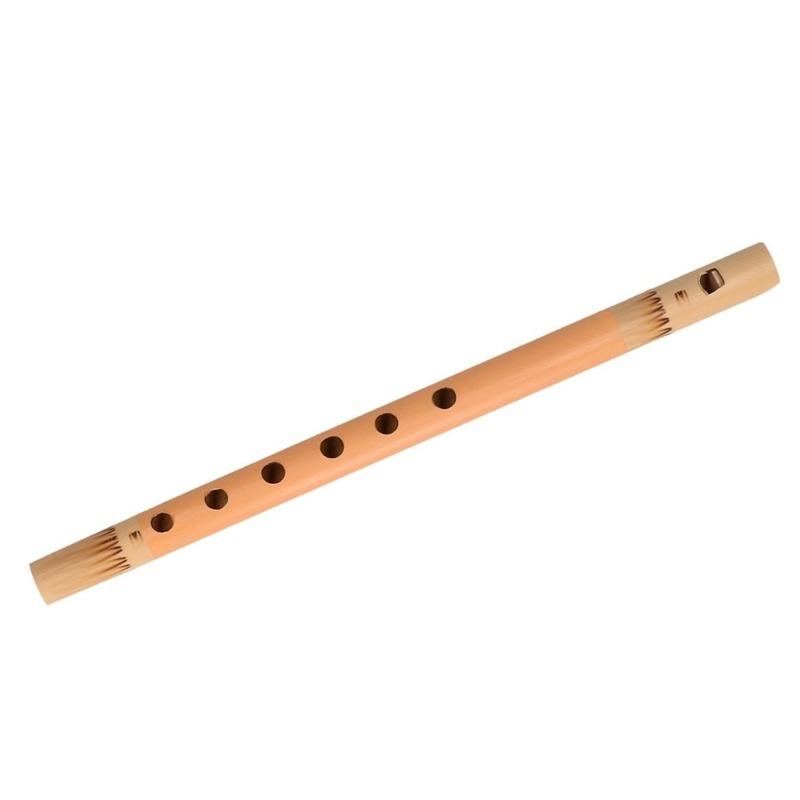 Oranje fluit van bamboe 30 cm