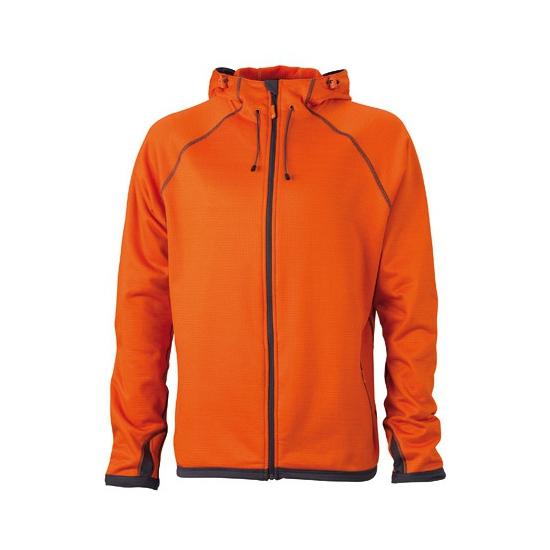 Oranje heren fleece jasje met capuchon
