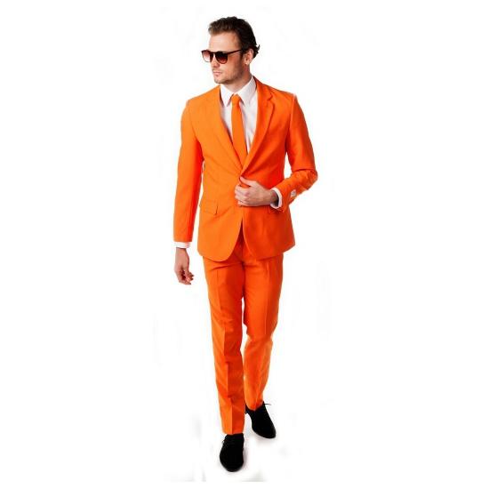 Oranje heren kostuum inclusief stropdas