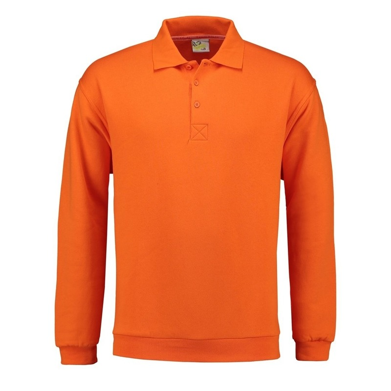 Oranje heren sweater met polo kraag