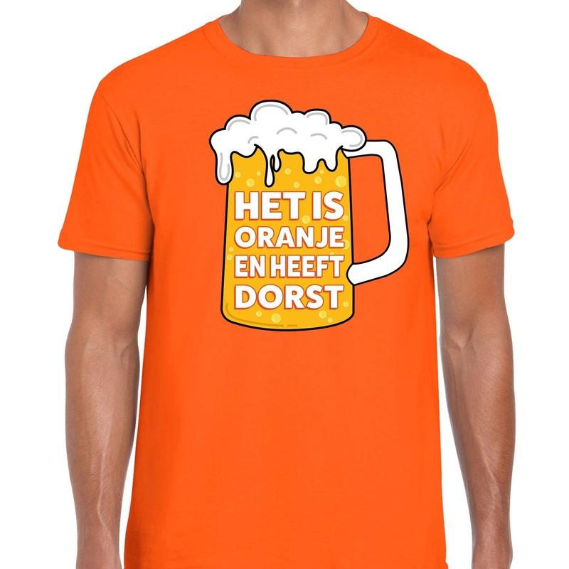 Oranje Het is oranje en heeft dorst t-shirt heren