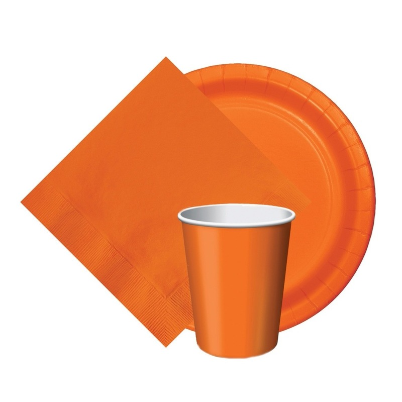 Oranje/Holland thema tafeldecoratie set 8 bordjes/8 bekertjes/20