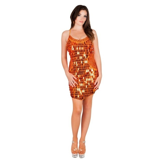 Oranje jurk met glitters