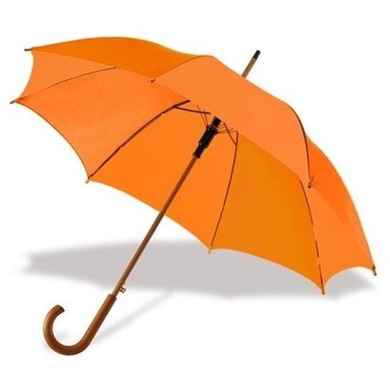 Oranje paraplu met houten handvat 103 cm