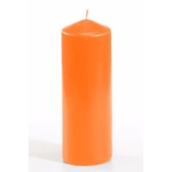 Oranje ronde kaars 16,5 cm
