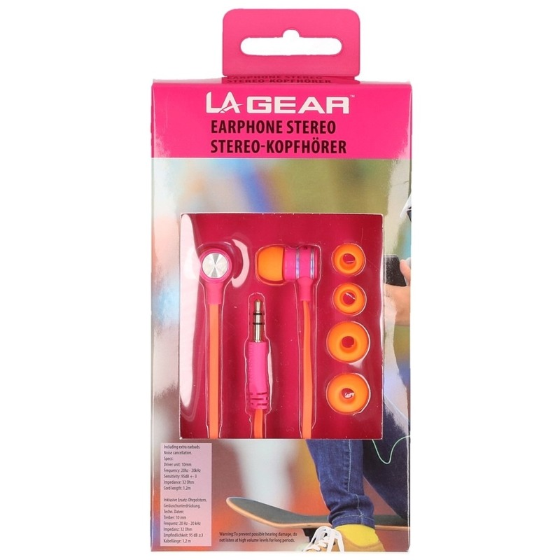 Oranje/roze oordopjes/oortelefoon in ear stereo