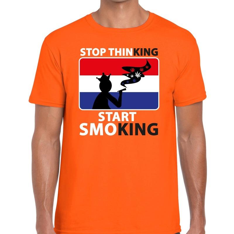 Oranje Stop thinking start smoking t-shirt heren