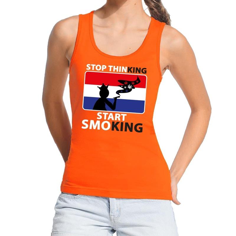 Oranje Stop thinking start smoking tanktop-mouwloos shirt dame