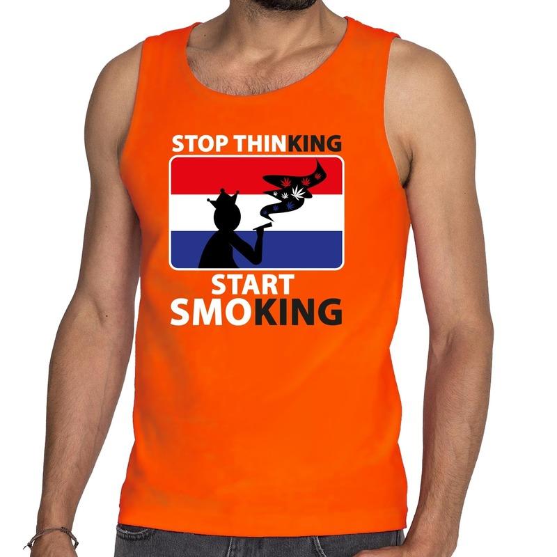 Oranje Stop thinking start smoking tanktop-mouwloos shirt here
