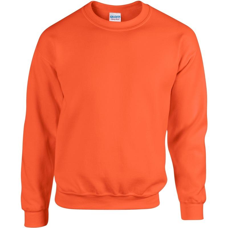 Oranje sweater/trui met ronde hals voor heren