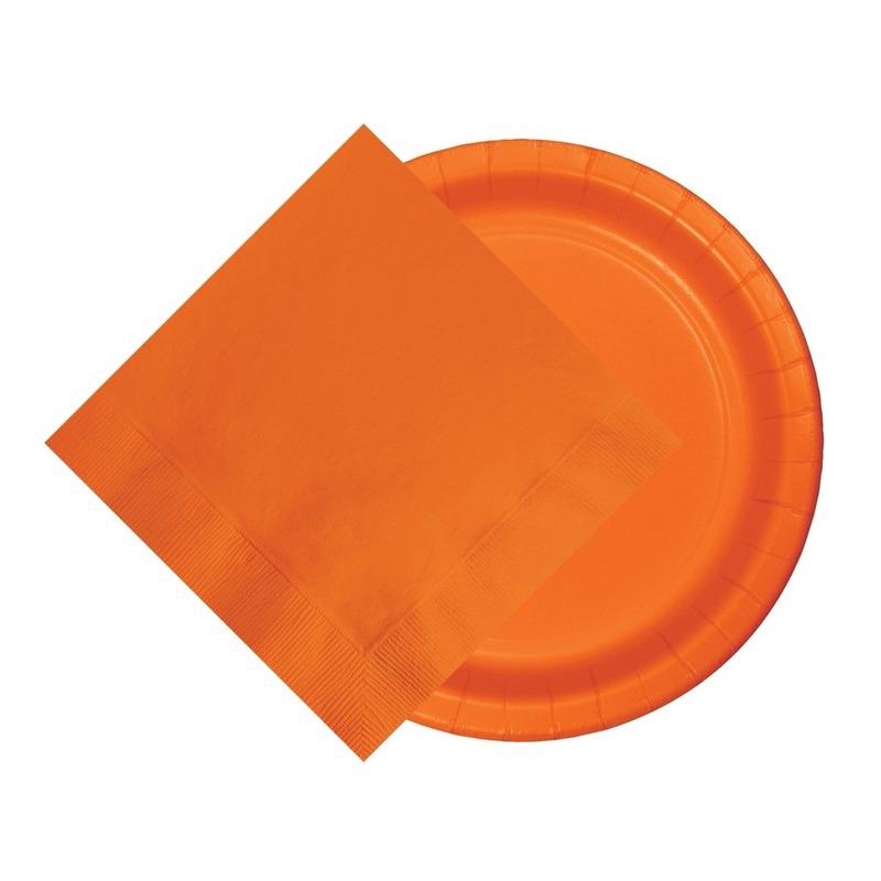 Oranje tafeldecoratie set 8 bordjes en 20 servetten