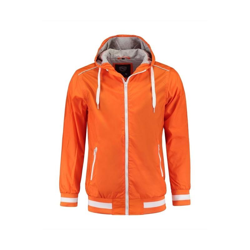 Oranje winddichte jas met capuchon voor heren