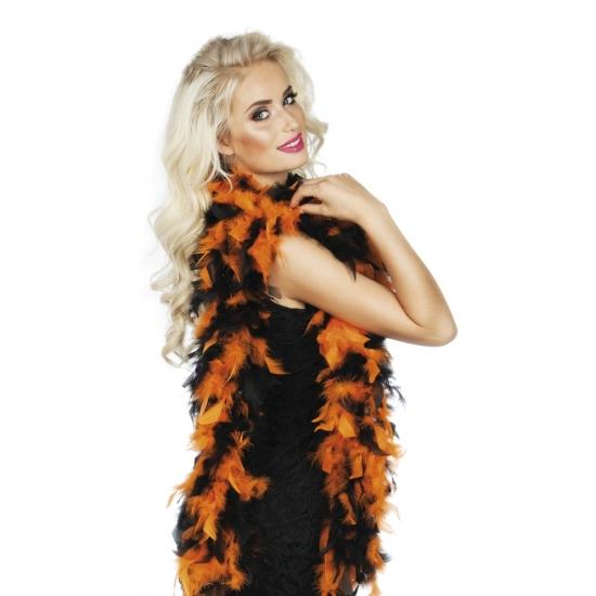 Oranje/zwarte boa 180 cm
