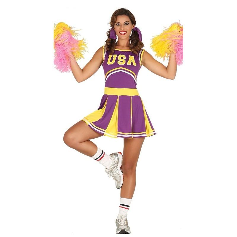 Paars/geel cheerleader jurkje voor dames