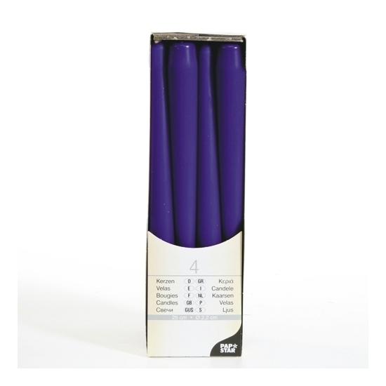 Paarse kandelaar kaarsen 25 cm