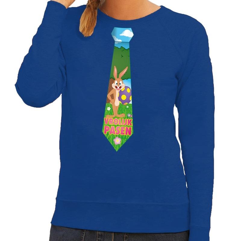 Paashaas stropdas vrolijk Pasen sweater blauw voor dames
