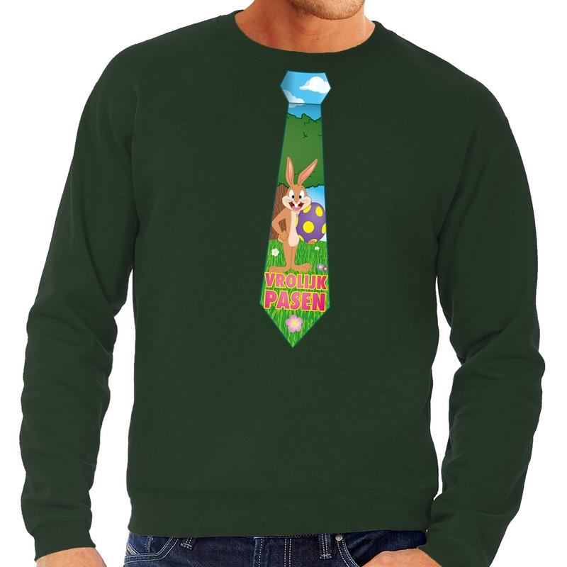 Paashaas stropdas vrolijk Pasen sweater groen voor heren