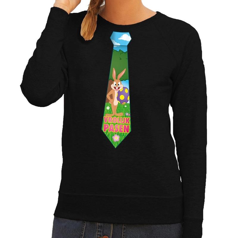 Paashaas stropdas vrolijk Pasen sweater zwart voor dames