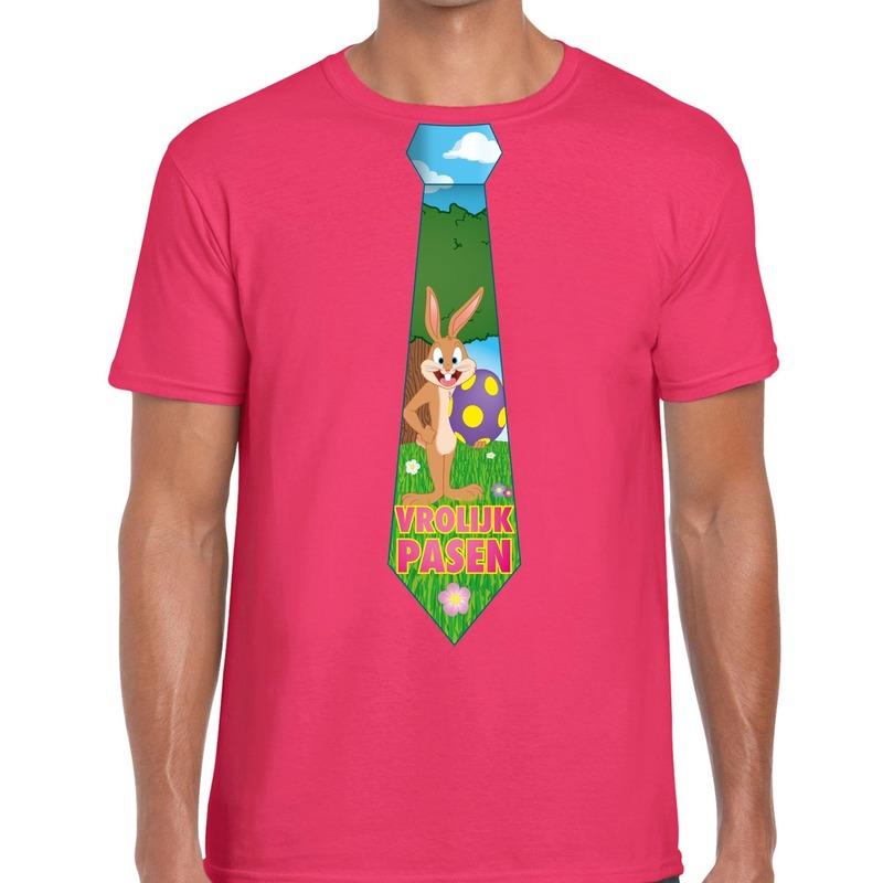 Paashaas stropdas vrolijk Pasen t-shirt roze voor heren