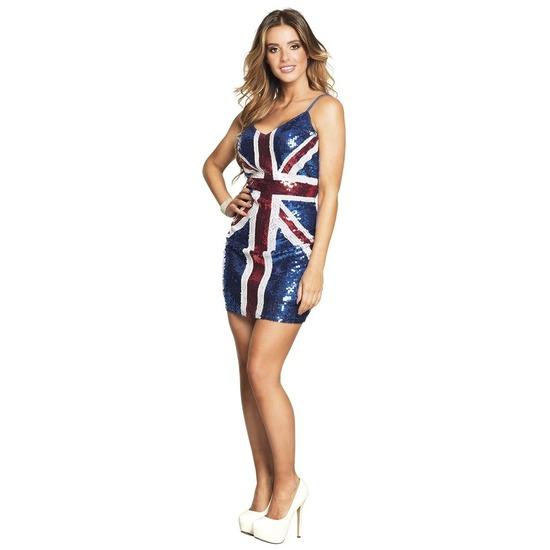 Pailletten verkleed jurkje Engeland/Union Jack vlag voor dames