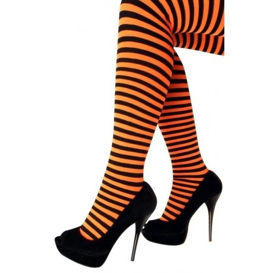 Panty gestreept oranje met zwart