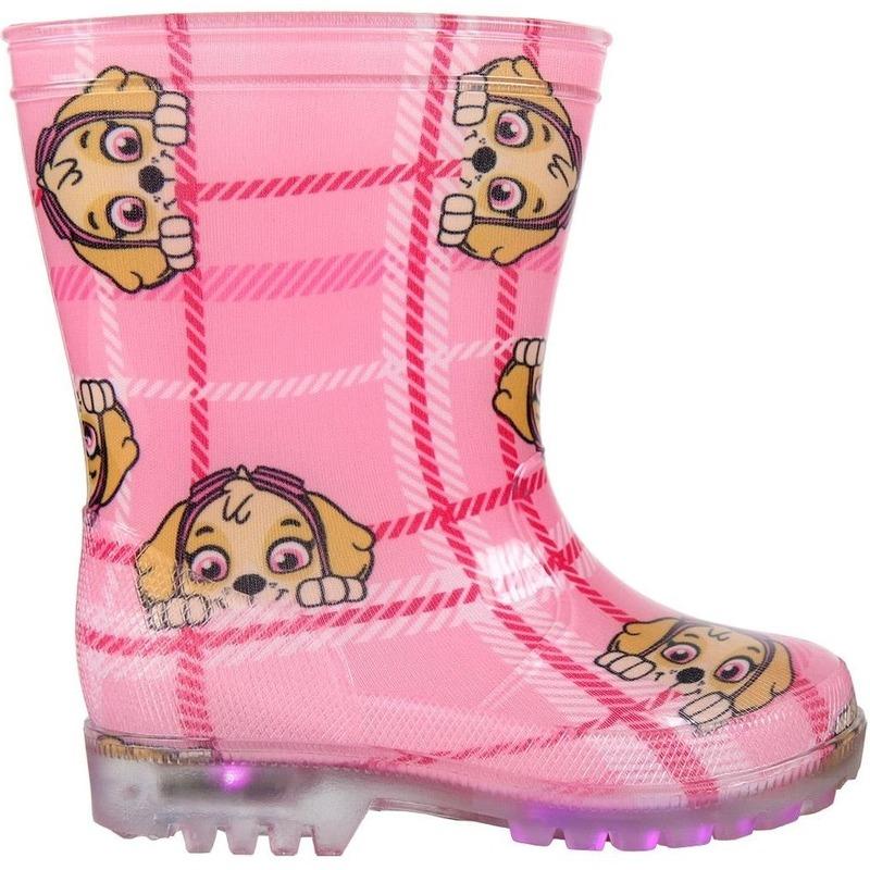 Paw Patrol Skye regenlaarzen roze met LED voor meisjes