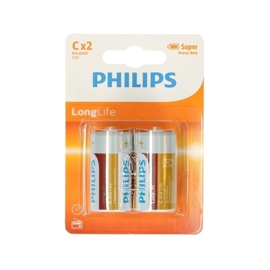 Phillips LL batterijen R14 1,5 volt 12 stuks